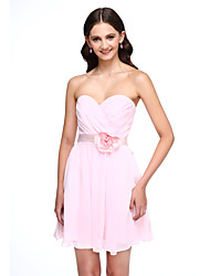 2017 Lanting Bride® Short / Mini Chiffon Mini Me Bridesmaid Dress - A-line Sweetheart with Flower(s)