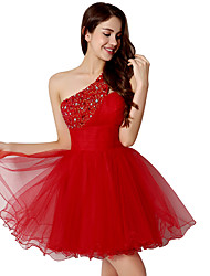 Cocktail Party Dress A-line One Shoulder Short / Mini Tulle with Crystal Detailing / Sequins