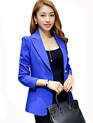 Women's Casual/Daily / Work Slim All Match Simple Rachel Bilson Fall Blazer,Solid Peaked Lapel Long Sleeve