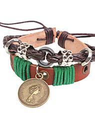 Fashion Vintage Charm PU Leather Bracelet Hand-woven Rope Queen avatar Pendant Bracelet Men Jewelry Hot
