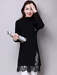 Women's Casual/Daily Sexy Long CardiganSolid Red / Black / Gray Turtleneck Long Sleeve Wool Fall