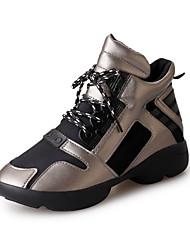 Damen-Sneaker-Sportlich Lässig-Tüll PU-Flacher Absatz-Komfort Mary Jane-Schwarz Rot Grau