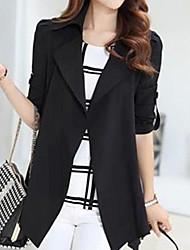 Women's Coat,Solid ¾ Sleeve Fall Black / Gray Polyester Medium