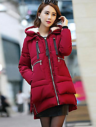 Women's Solid Red / Black / Green Padded CoatSimple Hooded Long Sleeve Winter Coat