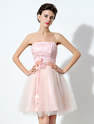 2017 Cocktail Party Dress A-line Strapless Short / Mini Tulle with Flower(s)