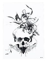 1pc Black Flower Cicada Skull Pattern Styling Tattoo Design Temporary Women Body Sleeve Art Paste Tattoo Sticker HB-241