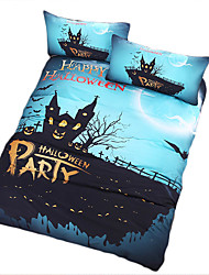 BeddingOutlet Happy Halloween Bedding Set Party Blue and Black Quilt Cover Cool Printed Soft Bed Set Multi Sizes
