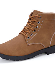 Men's Boots Fashion Leather Medium cut Flats Board Shoes Combat Boots