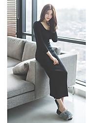 Feminino Bainha Vestido,Casual Simples Sólido Decote Redondo Médio Manga Longa Preto Outros Outono Cintura Média Com Stretch Média