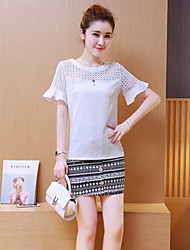 GLITTER  Women's Going out Spring Set PantSolid Round Neck Short Sleeve Cotton Opaque Set