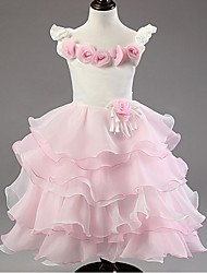 A-line Knee-length Flower Girl Dress - Organza Sleeveless Jewel with Flower(s)