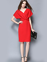 Women's Formal Sophisticated Sheath DressSolid V Neck Knee-length Short Sleeve Red / Black Polyester