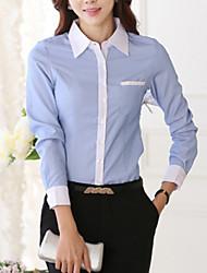 Women's Fashion Color Block Plus Size Cotton Shirt