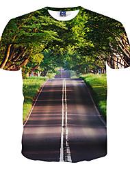 Men's Short Sleeve T-ShirtPolyester Casual / Formal / Sport
