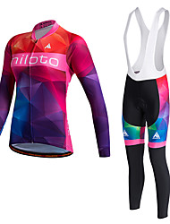 Miloto Cycling Jersey with Bib Tights Women's Unisex Long Sleeve BikePants/Trousers/Overtrousers Tracksuit Jersey Tights Bib Tights Tops