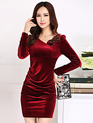 Women's Plus Size / Going out Street chic Bodycon Dress,Solid Asymmetrical Above Knee Long Sleeve Red / Black / Purple