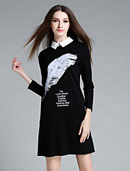 Women's Work Simple Tunic DressPrint / Letter Shirt Collar Above Knee Long Sleeve Black Cotton / Spandex