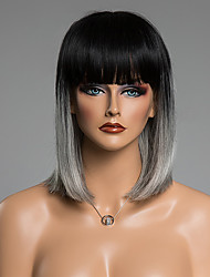 Outstanding Straight Medium Neat Bang Human Hair Wig