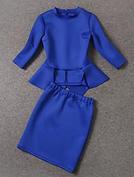 Damen Solide Einfach Arbeit Set Rock,Ständer Frühling Langarm Blau Baumwolle / Andere Mittel