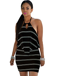 Women's Layered Ruffle Striped Halter Mini Dress