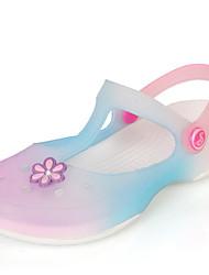Damen-Sandalen-Lässig-PVC-Flacher AbsatzPurpur Blau Rosa