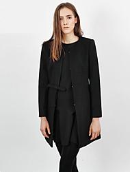 Damen Solide Einfach Ausgehen Mantel,Winter Rundhalsausschnitt Langarm Schwarz / Gelb Mittel Wolle / Kunstseide