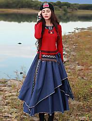 наша история выходит Chinoiserie весна / осень-т shirtembroidered вокруг шеи длинный рукав красный искусственный шелк