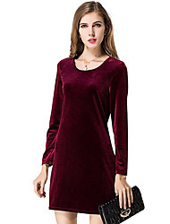 Women's Casual/Daily / Work Vintage Sheath DressSolid Mini Long Sleeve Red / Black / Green Polyester Spring / Fall