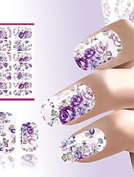 unhas de transferência de água etiqueta romântica cinza e flores roxas de design unhas decalques decoração da folha da etiqueta