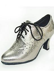 richelieus printemps / la chute des femmes fermé cuir orteil extérieur talon chunky / casual lace-up noir / argent / gris autres