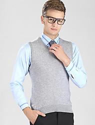Masculino Colete Casual / Escritório / Tamanhos Grandes Cor Solida Sem Manga Lã / Algodão Preto / Azul / Marrom / Bege / Cinza