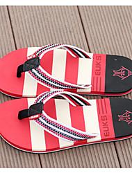 Men's Slippers & Flip-Flops Summer Comfort PU Casual Flat Heel Orange Red Blue