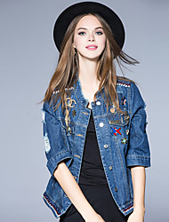 Boutique S Women's Going out Street chic Spring Denim JacketsSolid Stand  Sleeve Blue Cotton / Polyester
