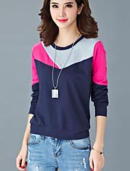 Sweatshirt Femme Grandes Tailles Décontracté / Quotidien simple Mosaïque Col Arrondi Micro-élastique Coton Manches Longues Automne