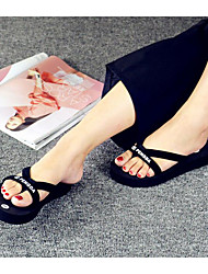 Women's Slippers & Flip-Flops Spring Summer Comfort Customized Materials Casual Flat Heel Others Black Black and White Others