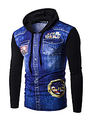 Men's Casual Stitching Color Long Sleeve Five-pointed Star Wars Pattern Printing Denim Hoodie T-Shirt Sweatshirts