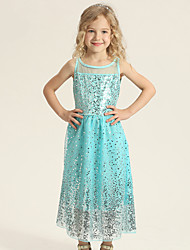 Ball Gown Tea-length Flower Girl Dress - Tulle / Polyester Sleeveless Jewel with Sequins