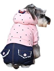 katten / honden Jassen / Hoodies / Jumpsuits / Broeken / Jeans Groen / Paars / Roze Hondenkleding Winter / Lente/Herfst Polka dots