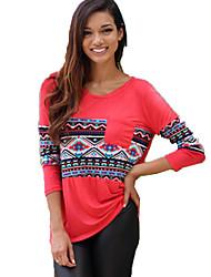 Tee-shirt Aux femmes,Couleur Pleine Sortie / Décontracté / Quotidien simple / Chic de Rue Eté / Automne Manches Longues Col Arrondi Rouge