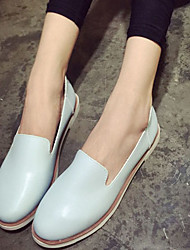 Feminino Mocassins e Slip-Ons Sapatos de Berço Courino Outono Casual Sapatos de Berço Rasteiro Branco Preto Azul Rosa claro Rasteiro