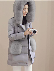 Women's Regular Down Coat,Street chic Going out Casual/Daily Solid-Nylon White Duck Down Long Sleeve Hooded