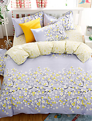 Bedtoppings Comforter Duvet Quilt Cover 4pcs Set Queen Size Flat Sheet Pillowcase Leaf Prints Microfiber