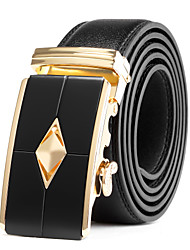 Men's Suits Dress Black Gold Automatic Belt Buckles Black Leather Waist Belt Strap