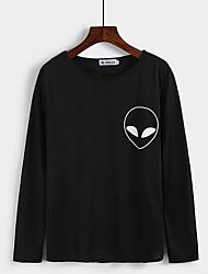 Damen Druck Street Schick Lässig/Alltäglich T-shirt,Rundhalsausschnitt Frühling / Herbst Langarm Weiß / Schwarz Baumwolle Mittel