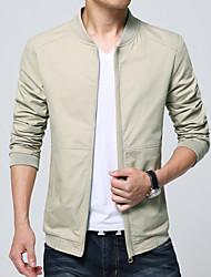 Men's Long Sleeve Casual / Work Jacket Coat Cotton / Polyester Solid Simple Regular Zipper Outerwear