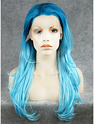 IMSTYLE Hot Selling Long Blue Natural Wave Red Synthetic Wigs Lace Front