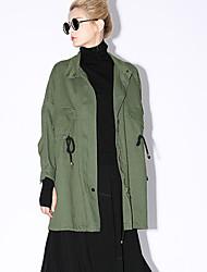 novo antes casual / diária simples trincheira das mulheres coatsolid ficar primavera manga longa / cair vermelho / marrom / verde