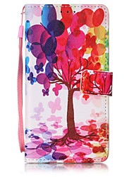 Color Tree Pattern PU Leather Lanyard phone Case For HuaWei P9 lite