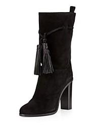 Damen-Stiefel-Outddor-PU-Stöckelabsatz-Modische Stiefel-Schwarz Grau Burgund