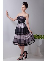 Cocktail Party Dress A-line Sweetheart Tea-length Tulle with Flower(s) / Lace / Pleat